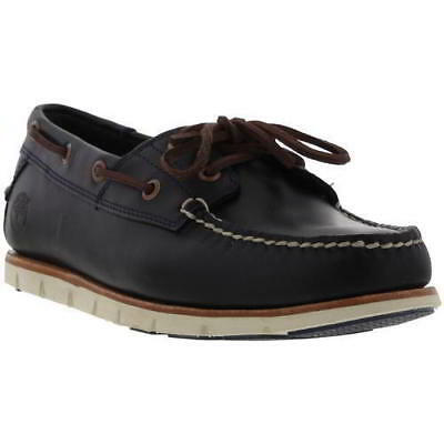 Timberland Tidelands Boat Shoes Mens Leather 2 Eye Deck Shoes Brown Blue All Sze
