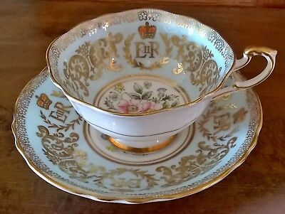 Collectible Paragon Wide Mouth Queen Elizabeth Coronation Tea Cup and Saucer