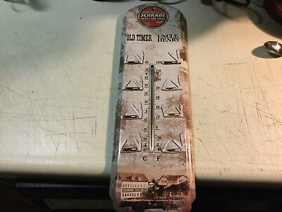 """Schrade Knives and Tools Old Timer Uncle Henry Metal 17.25"""" Thermometer Sign"""