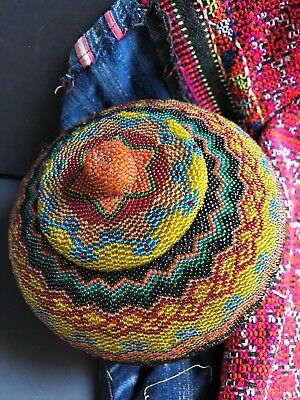 Old Borneo Woven Beaded Basket with Lid …beautiful collection piece