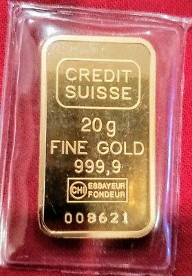 20 Grams Credit Suisse Liberty Statue .9999 Gold Bar Sealed W/ Assay Card