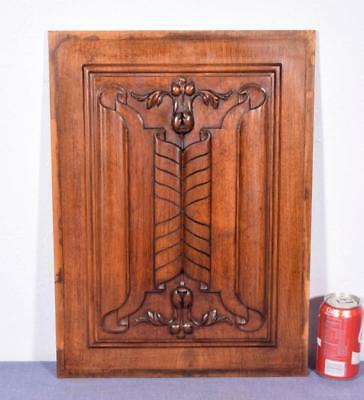 French Antique Gothic Revival Panel in Deeply Carved Walnut Wood w/ Linen Folds