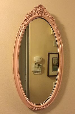 Antique Victorian Wooden Mirror Carved  Large  Oval Wall Hanging Pink