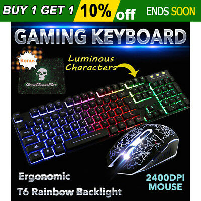 T6 Rainbow Backlight Ergonomic Gaming Keyboard and Mouse Set USB for PC Laptop