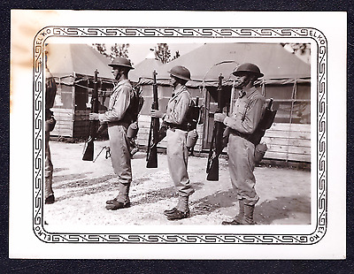 Vintage 1940's Photo US Army Soldiers Drill Guns Rifles Pre WW2 WWII War (Z115)