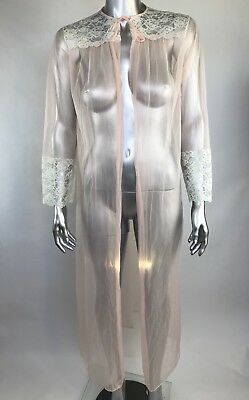 Vintage Robe Gown Open Front White Lace Trim Pink Sheer Medium M
