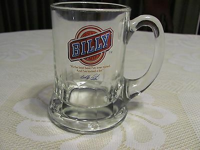 Vintage 70's Billy Beer Stein Clear Glass Beer Mug Advertising Rare Collectible