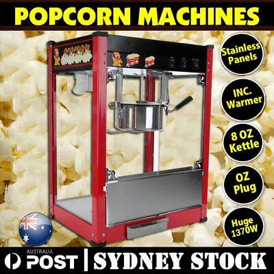 1370W Commercial Stainless Steel Popcorn Machine Red Pop Corn Warmer Cooker Popp