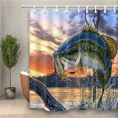 Bass Fish With Hooks And River Funny Waterproof Fabric Shower Curtain Bathroom