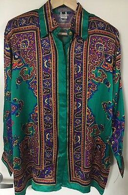 Vintage 100% Silk Long Sleeve Luxury Top Shirt Paisley Green SZ M 90's
