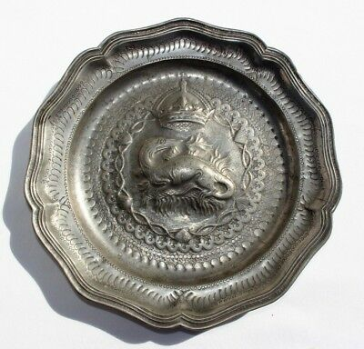 Antique 17th Century French Pewter Plate Otter & Crown Relief Coat of Arms desgn