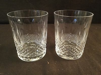 Pair Of Waterford Double Old Fashioned Tumbler Glasses In The Colleen Pattern