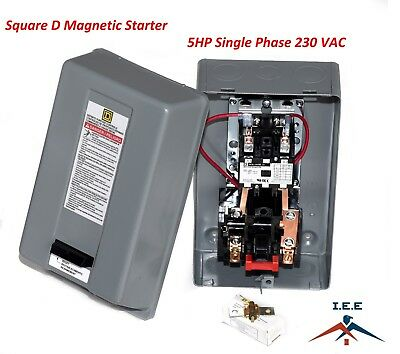 Magnetic Motor Starter Control By Square D 5Hp 1 Phase 230Vac 30 Amp