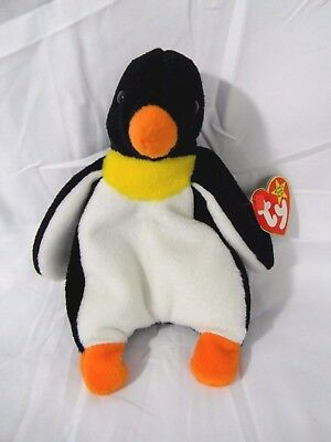 """Ty Beanie Babies Plush Black Waddle Small Penguin Stuffed Animal Toy 6"""" Tall"""