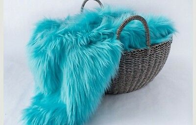 "Faux fur newborn photo prop    20""x18"" Photography's Turquoise very soft Blanket"