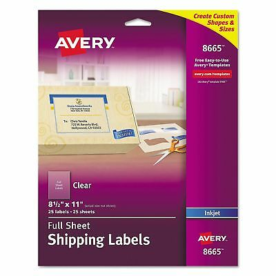 Avery FULL SHEET CLEAR Shipping Labels for Inkjet Printers (8665) 25 sheets