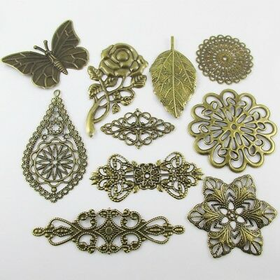 10pcs Mixed Antique Bronze Metal Embellishments Cards Scrapbooking