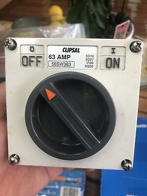 Clipsal 56SW363 Surface Mount Isolation Switch Triple 3 Pole