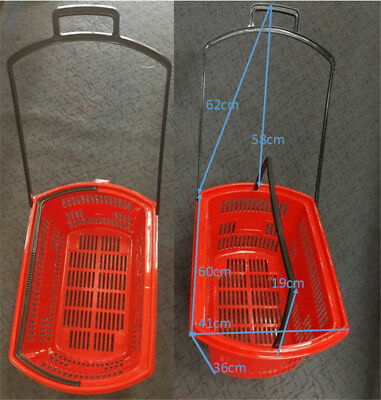 50L Plastic Shopping Hand Basket Strong and durable handle with 4 wheels