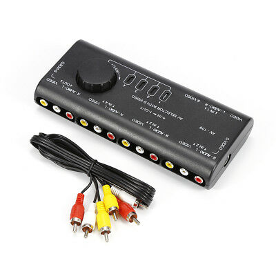 4 In 1 Out Composite Video Audio RCA AV Switch Switcher Selector Splitter Box PX