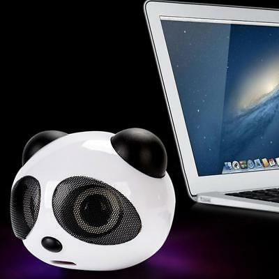 Cute Panda Stereo Speaker for PC Desktop Laptop Notebook with USB Cable Decor !
