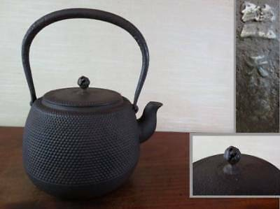 Japanese Antique KANJI old Iron Tea Kettle Tetsubin teapot Chagama 2317