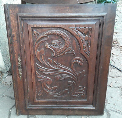 Antique French Wood Carved Panel Door Dragon Chimera Griffin Gothic N°1