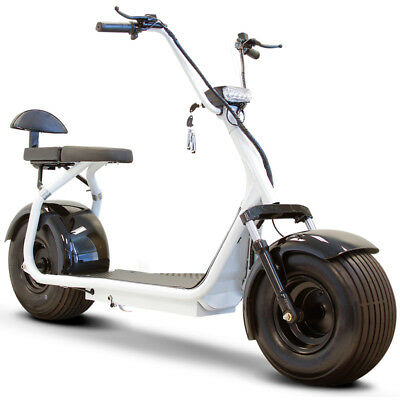 E-Wheels EW-08 Fat Tire Electric Scooter - White - 800 Watt Motor, New
