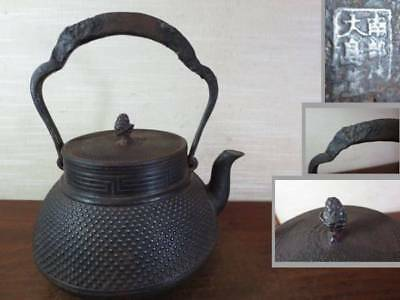 Japanese Antique KANJI old Iron Tea Kettle Tetsubin teapot Chagama 2318