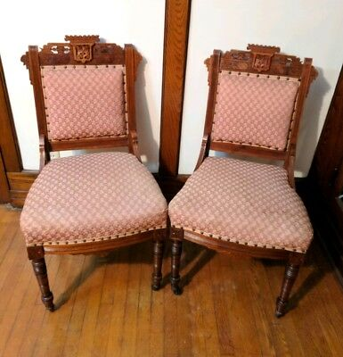 2 Antique Victorian Eastlake Parlor Chairs Flower Pattern Walnut Carved Vintage