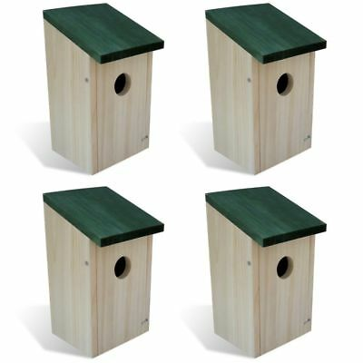 Patio Outdoor 4 pcs Garden Wooden Bird House Nesting Box Green Roof Feeder