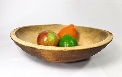 Early-Mid 19Th C American Lathe Turned Lg Nat Wood Bowl W/scrubbed Int No Cracks