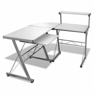 Wood L-Shape Corner Computer Desk PC Laptop Table Workstation Home Office White