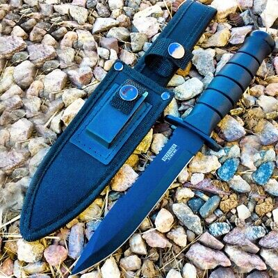 "Defender Xtreme 10.5"" Hunting Knife With Nylon Button Sheath & Blade Sharpener A"