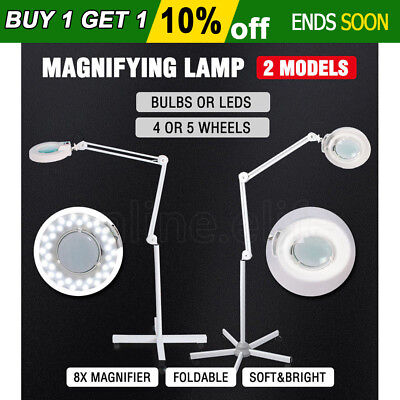 Magnifying Lamp Glass Lens T5 Bulb/36 LED Illuminated Light 8x Magnifier Stand