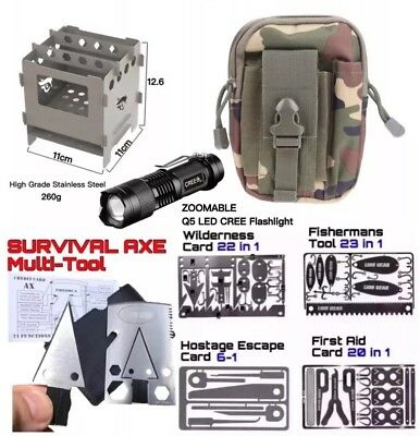 Ultimate Pro Survival Kit Set Hunting Fishing First Aid cape Large Camping Stove