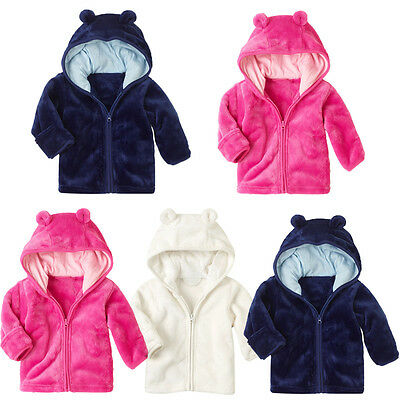 Baby Girl Boy Long Sleeve Coats Hoodie Zip Jacket Outwear Coral Fleece Tops BG