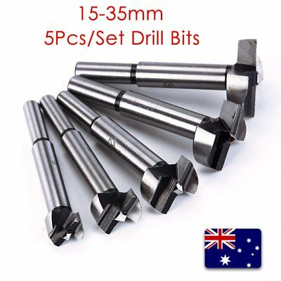 5Pcs 15-35mm Forstner Drill Bits Hinge Cutter Boring Hole Woodworking Set BI484