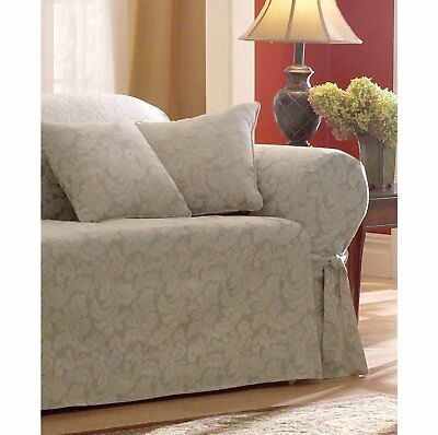 Sure Fit Scroll 1 Piece Sofa Slipcover Champagne Sf24987