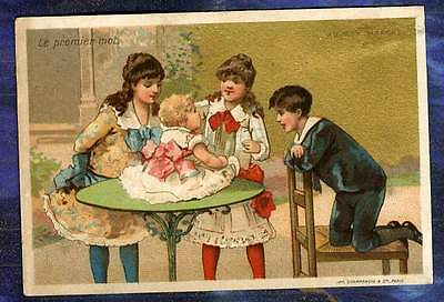 Chromo Au Bon Marche bm80 Champenois 1ers mots 1rst words Baby Trade Card 1880