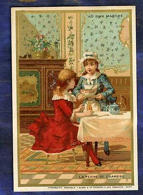 chromo Au Bon Marche bm149 jeu Femme de Chambre Chambermaid game Old Trade Card