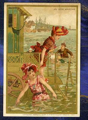 Chromo Au Bon Marche bm162 plage Seaside Fillettes Girls bain Bath Minot 1889'