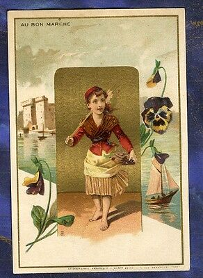 CHROMO Au BON MARCHE bm178 PECHEUSE FISHER PENSEE PANSY PORT MINOT trade Card