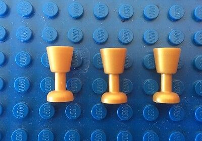 Lego 3x Pearl Gold Goblet Wine Glass From Harry Potter Friends Star Wars
