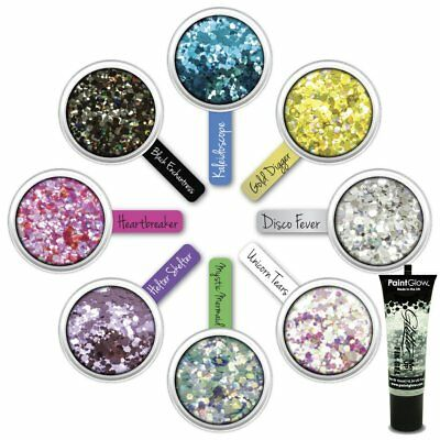 Paintglow Loose Cosmetic Face & Body Chunky Festival Glitter Sets AND Fix Glue