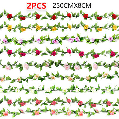 2x8Ft Artificial Silk Rose Flower Ivy Vine Leaf Garland Wedding Party Garlands