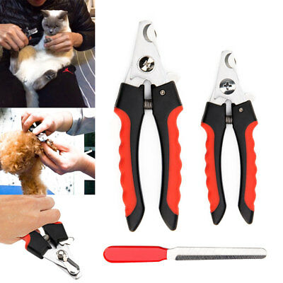 Pet Nail Dog Cat Claw Clippers Trimmer Scissors Grooming Cutters File 2 Sizes
