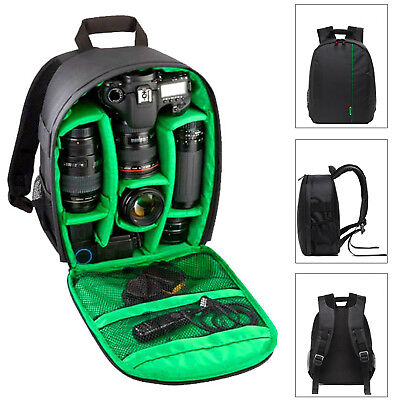 Camera Backpack Bag Waterproof Lens Case Rucksack For DSLR Canon EOS Nikon Green