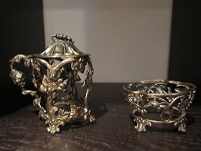 19Th Century 2 Piece French Silver Mustard And Small Bowl