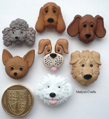 DOGS FACES Craft Buttons 1ST CLASS POST Novelty Animal Pet Puppy Dog Head Pup